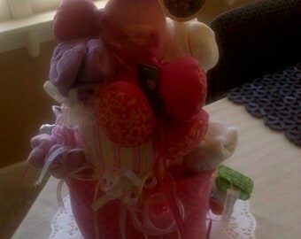 Pink Poodle Diaper Cake