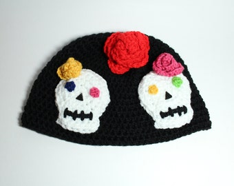 Sugar Skull Hat Crochet Beanie Day of the Dead Skullcap