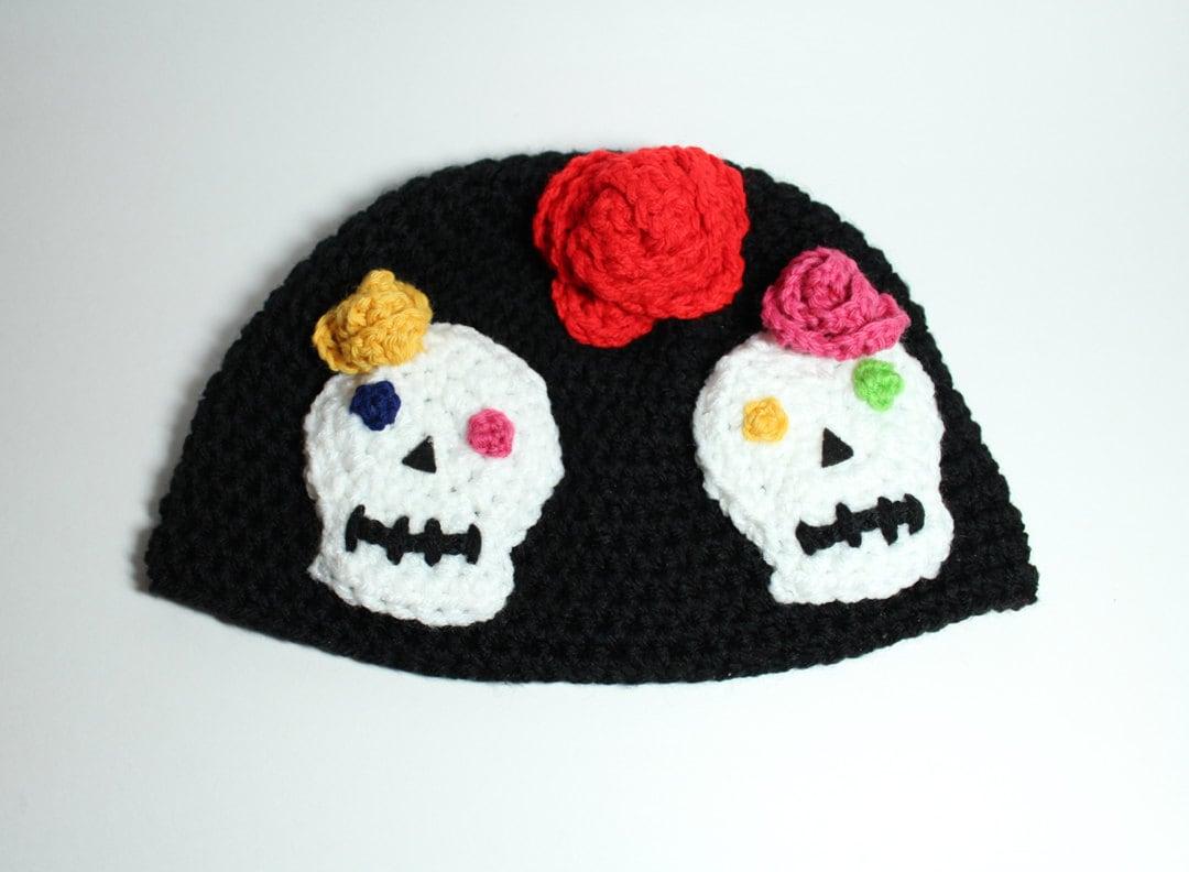 Beanie Skull Hats Sugar Skull Hat Crochet Beanie