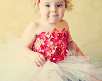 Flower Tutu | Fairy Dress | Fairy Tutu | Strapless Dress | Tutu for Photo Shoot | Fairy Princess | Artificial Flower Tutu | Tutu Skirt