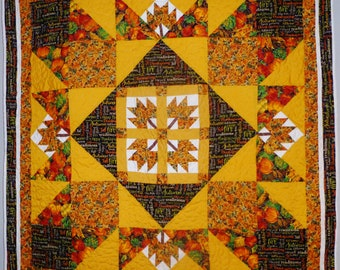 Autumn Leaves Starburst Lap Quilt