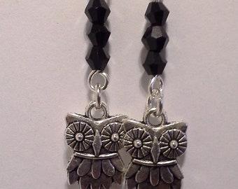 Crystal owl earrings, black owl earring, owl earring, black earring, black owl, owl jewelry,