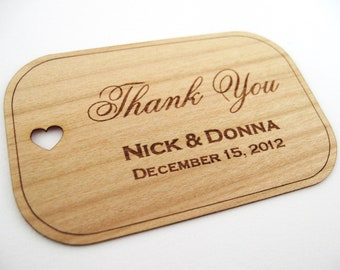 Wedding Favors Tags (100) / Wooden Favor Tags / Gift Tags / Wood Tags / Shower Favor Tags / Wood Hang Tags  - Wood Personalize