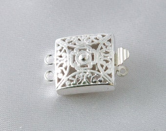 2 sets - 14mm Silver Plated Square Filigree Two Strand Box Clasp