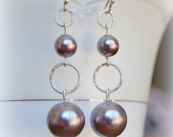 Hammered Sterling Silver Earrings, Pearl Earrings, Silver and Pearl Earrings, Dangle Earrings,
