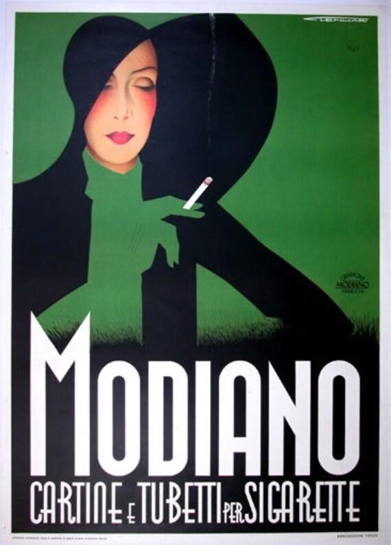 Art Deco Graphic Fridge Magnet Green Black Silhouette Lady with Cigarette Modiano Sigarette
