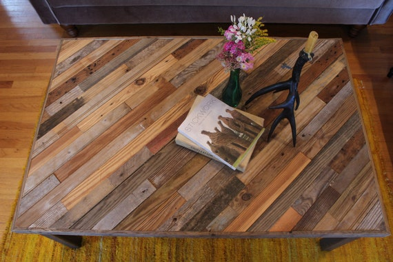 Reclaimed Pallet and Barn Wood Coffee Table with Steel Legs - Perseids