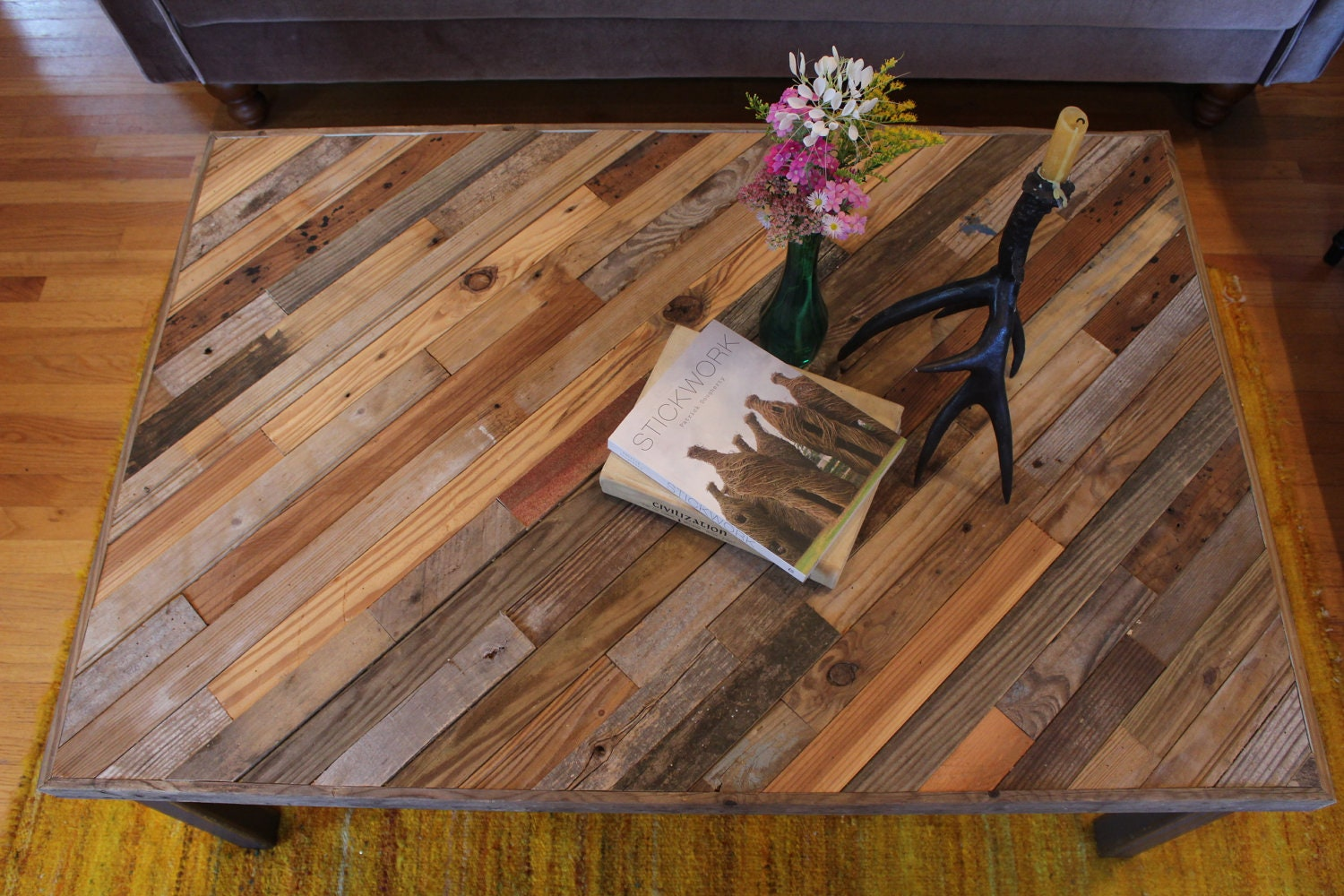 Reclaimed pallet and barn wood coffee table with by newantiquity One of a kind coffee tables