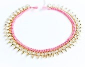 Pink necklace gold plated with crystals and studs. Neo tribal bib necklace.