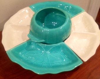 SALE-1950's Extra Large Hoenig California Chip Dip Platter Lazy Susan Aqua
