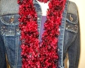 Black and Red Furry or Fuzzy Scarf, SO SOFT