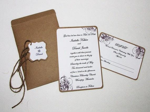 Handmade Rustic Wedding Invitations: Items Similar To Handmade Rustic Wedding Invitation On Etsy