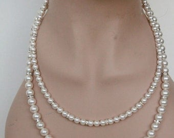 Pearl Necklace - Bridesmaids gift, Bridal neclace, Multi strand bridal necklace, pearl rhinestone necklace, crystal pearl jewelry