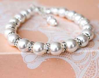 Pearl Bracelet (pick your own color)  with Rhinestones, Bridal Jewelry, Bridesmaids gifts