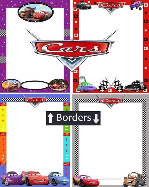 items similar to disney cars pixar borders and frames printable digitial instant download childrens party invitations on etsy
