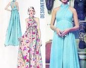 Simplicity 5364 Vintage 1970s Disco Empire Waist Halter Dress Sewing Pattern