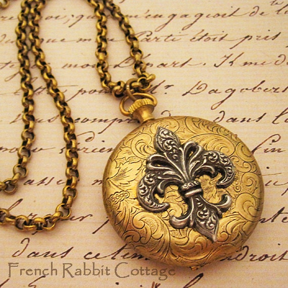 Fleur de lis locket necklace french inspired jewelry large like this item aloadofball Gallery