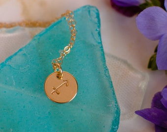 sagittarius Necklace - small gold sagittarius Zodiac Pendant on 14k Gold Filled Chain with Turquoise or CHOOSE GEMSTONE - Tiny Dainty
