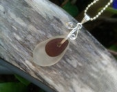 Rain drop beach glass pendant