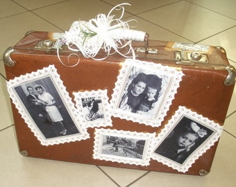 Old suitcase, wedding decor element in retro style.