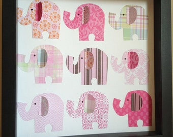 Elephants, 3D Paper Art, perfect for your little girl's room