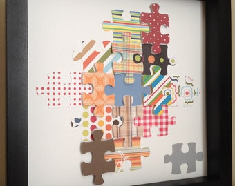 Colorful Puzzle Piece, 3D paper art, that can be personalized, perfect for nursery art OR playroom :-)
