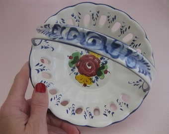 Porcelain Basket Candy, Nut Dish Signed, Numbered Hand Painted Portugal