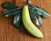 Pristine vintage hand carved jade banana fruit table ornament