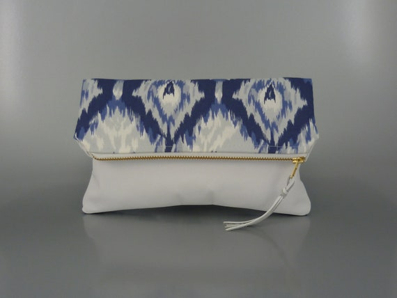 NEW - White Leather & Ikat Fold Over Clutch
