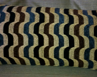 Single Kidney Pillow Cover (11 x 21) with Geometric Design of Browns, Blue and Black