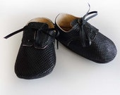 Custom Listing for Gretchen: Plain Black Leather Baby Boy Shoes