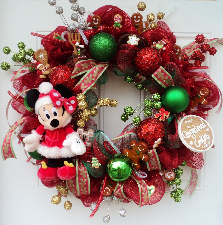 Minnie mouse disney christmas wreath by sparkleforyourcastle