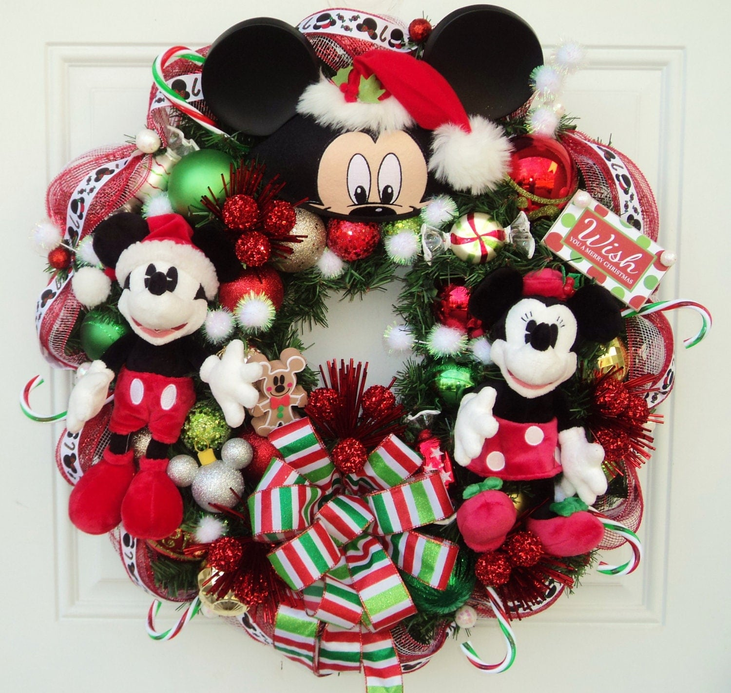 Christmas disney wreath with santa mickey and minnie mouse - Minnie mouse noel ...