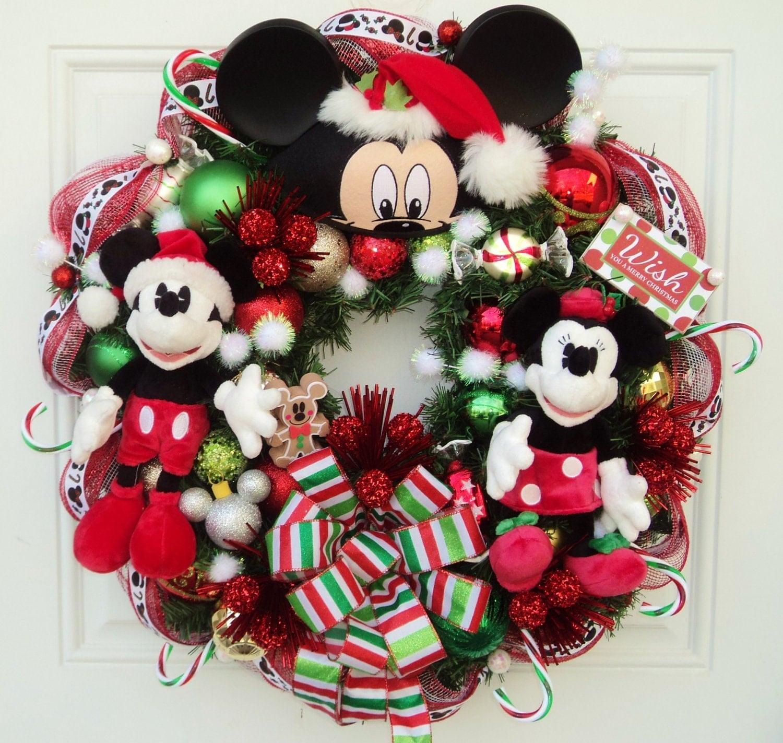 Christmas Disney Wreath With Santa Mickey And Minnie Mouse