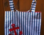Reserved for Gina - Striped Anchor Tote with Appliqued Anchor