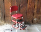 RESERVED FOR CHANNON - Vintage Retro Red Cosco Step Stool Chair  - Mid Century Modern