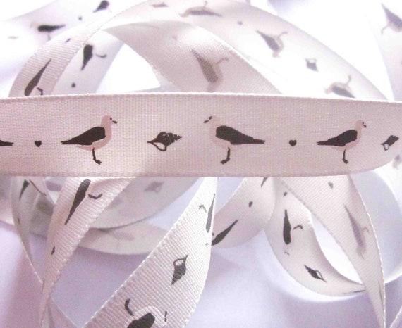 Grey Seagull Print Ribbon 15mm Wide x 1 Metre