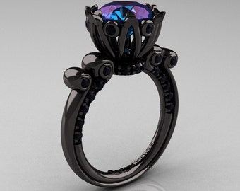 French Antique 14K Black Gold 3.0 CT Alexandrite Black Diamond Solitaire Wedding Ring Y235-14KBGBDAL