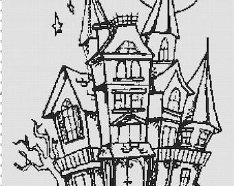 Handmade Halloween Haunted House Silhouette PDF Cross-Stitch Pattern
