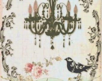 French Shabby Chic Chandelier & Bird Silhouette Cross-Stitch Pattern