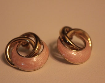 Vintage Pink and Gold Swirl Pierced Earrings
