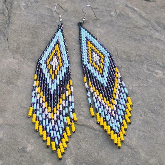 Long  Native American Style Seed Bead Earrings in dark purple, blue, yellow and beige tones - peyote earrings, beaded jewelry