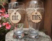 Mr. & Mrs. Country/Shabby Chic Pilsner Toasting Glasses (set of 2)