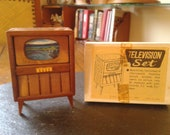 moveable mid century modern cherry wood television set by Shackman for miniature doll house collector with box