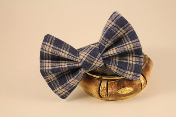 Navy and Tan Plaid Bow Tie