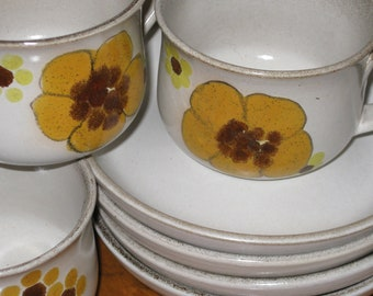 """Vintage Denby Stoneware Denby Pottery """"Minstrel"""" - Set of Four English Pottery Cups and Saucers"""