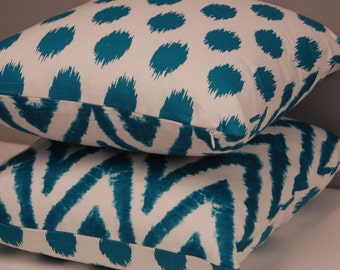Aqua Print Zig Zag Dot 2 Sided  Pillow Cover 20 Inch, Teal White Accent Pillow, Decorative Sofa Pillow