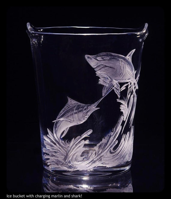 Hand Engraved Ice Bucket, Shark, Marlin, Engraved Marlin, Sailfish, Wedding gifts, Home decor, Deep Sea Fish, Interior Decor