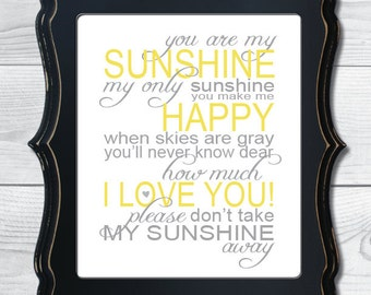 INSTANT DOWNLOAD - You Are My Sunshine - Nursery Art Printable