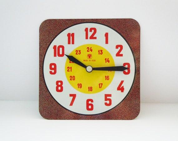 Soviet Vintage Kids Educational Toy Clock